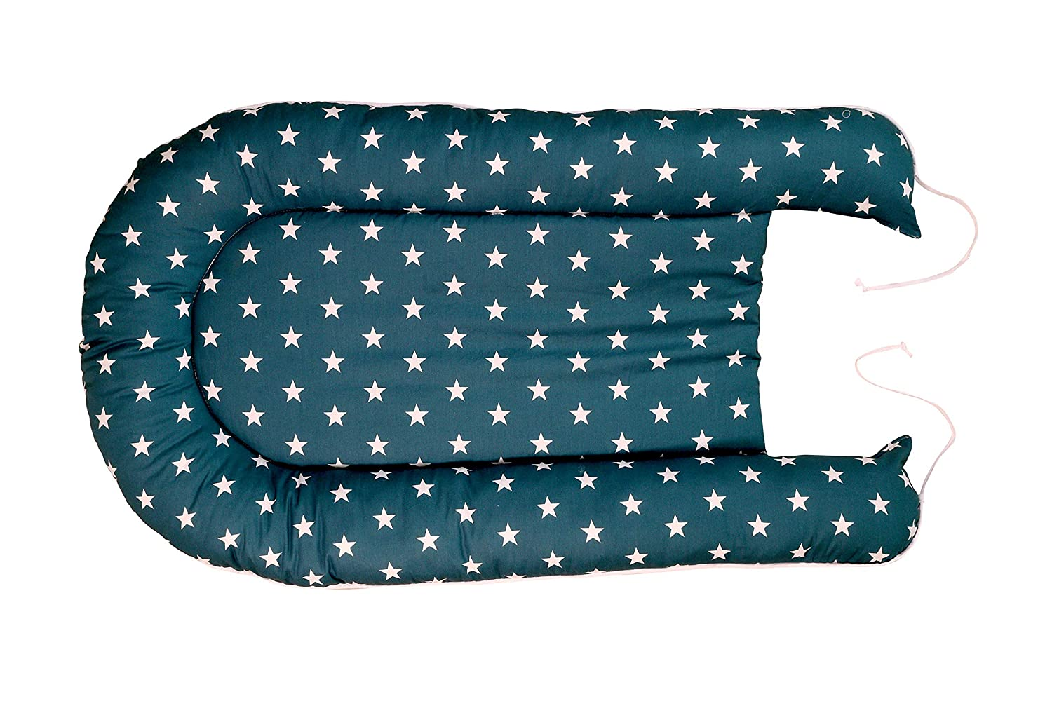Blue Light Blue Grey 55x95 cm Baby Cocoon, Cotton Sleeping nest, Suitable for a Travel Bed or a Snuggly Sleep pod ULLENBOOM//® Baby nest/