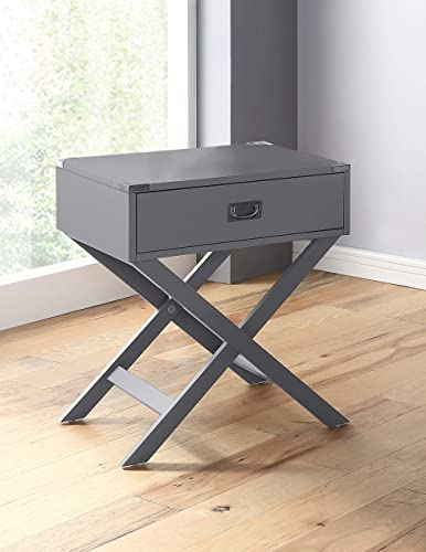 GTU Furniture X Base 1 Drawer Wood Accent Storage Nightstand Side Table End Table Grey