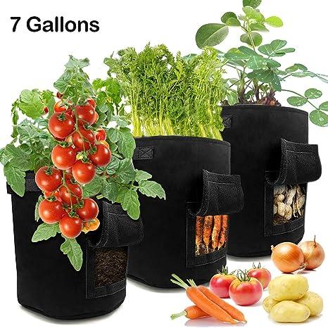LEHOUR Paquete de 3 Bolsas de Cultivo de Papa, 7 Galones Maceta de Cultivo de Patatas para en Jardin para Papa, Zanahoria, Tomate y Cebolla etc