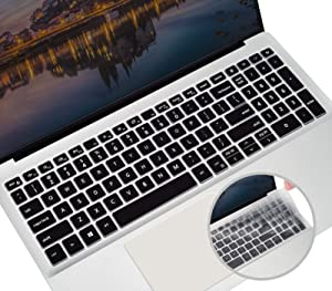 Silicone Keyboard Cover Skin for 2021 2020 15.6 Inch Dell Inspiron 15 5000 5505 5584 5590, Dell Inspiron 15 7000 7590 7591 Laptop, Dell Vostro 15 7590 Keyboard Protector(Black+Clear)