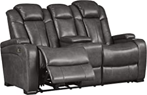 Signature Design by Ashley Turbulance Power Reclining Loveseat Console Adjustable Headrest Quarry