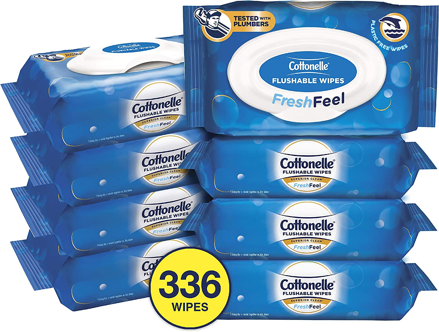 Cottonelle FreshFeel Flushable Wet Wipes for Adults, Alcohol Free, Eight 42-Count Flip-Top Packs (336 Wipes Total)