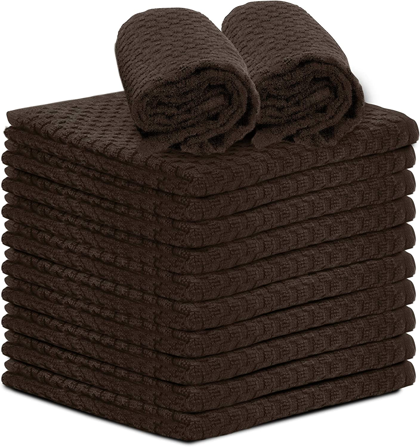 """Talvania Dishcloths for Kitchen Cotton Terry Dish Cloths 12 Pack Soft and Absorbent Cleaning Dish Rag 12"""" X 12"""" Small Dish Towels (Brown)"""