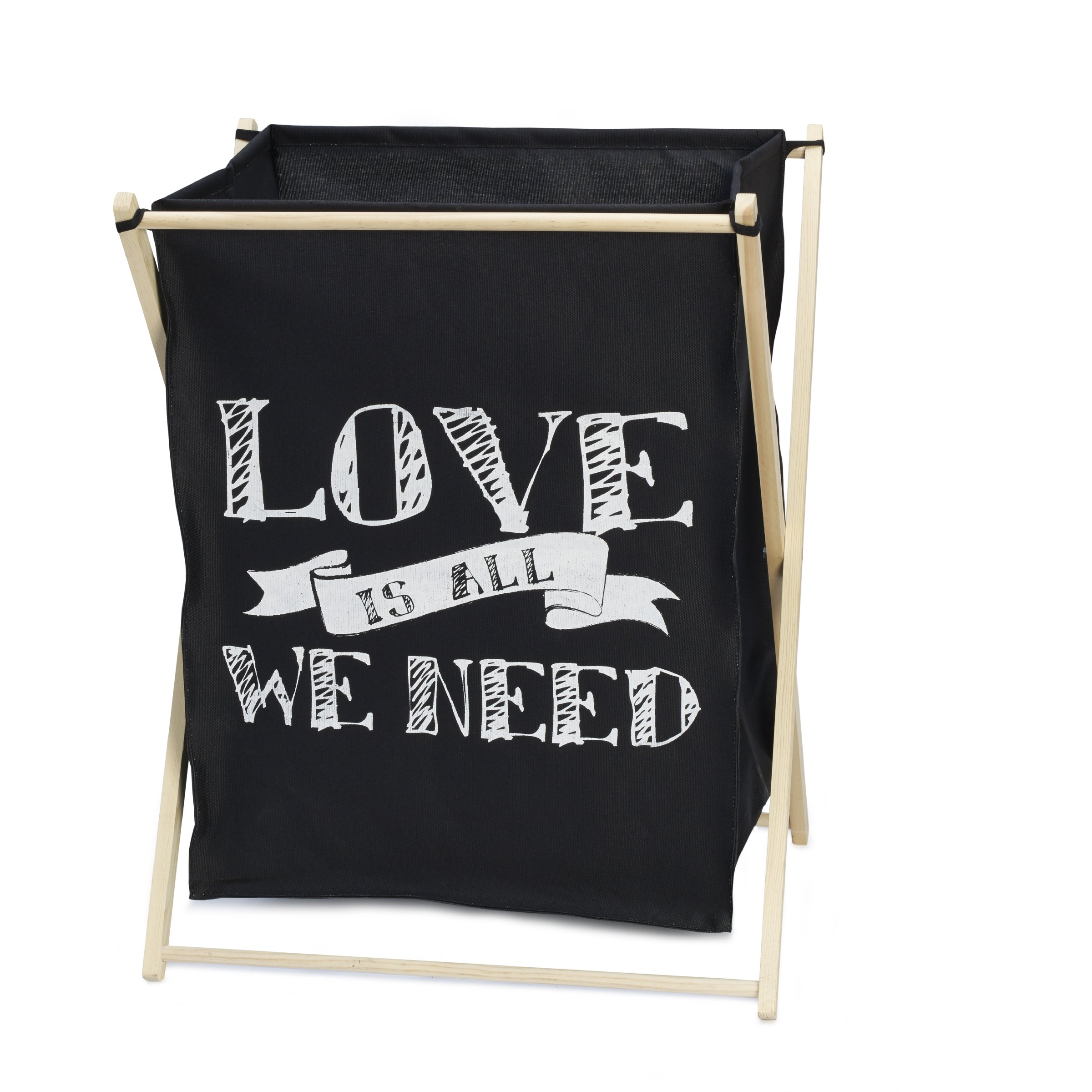 Elements Folding Laundry Hamper, Love is All We Need' Canvas Bag, 22-Inch-by-26-Inch
