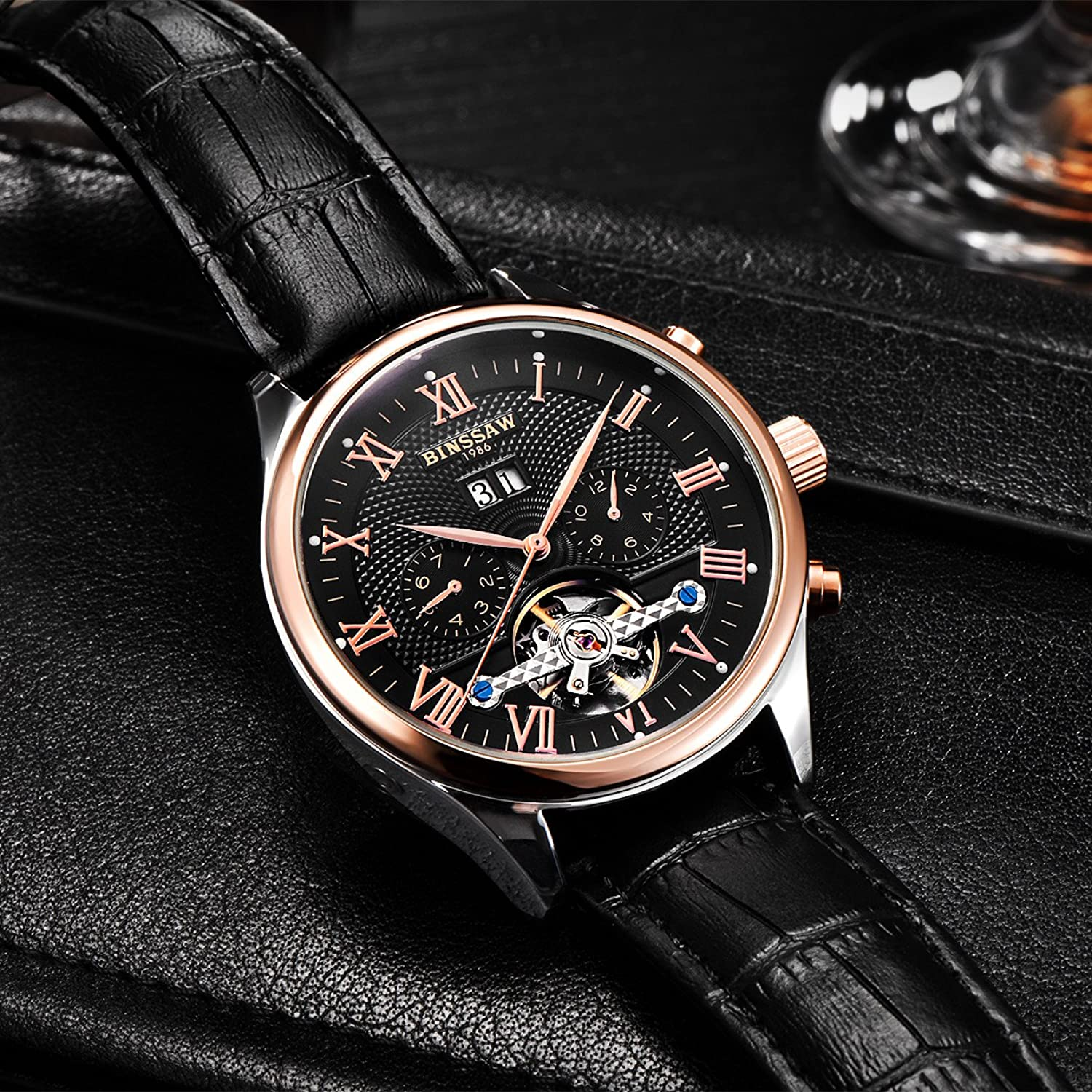 leather jl binssaw calendar waterproof tourbillon watch watches brand dp men business mechanical aatos automatic sports com amazon