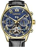 Carnival メンズ トゥールビヨン 自動巻き 腕時計 ステンレススチール 防水 夜光 ブルーダイヤル レザーウォッチ