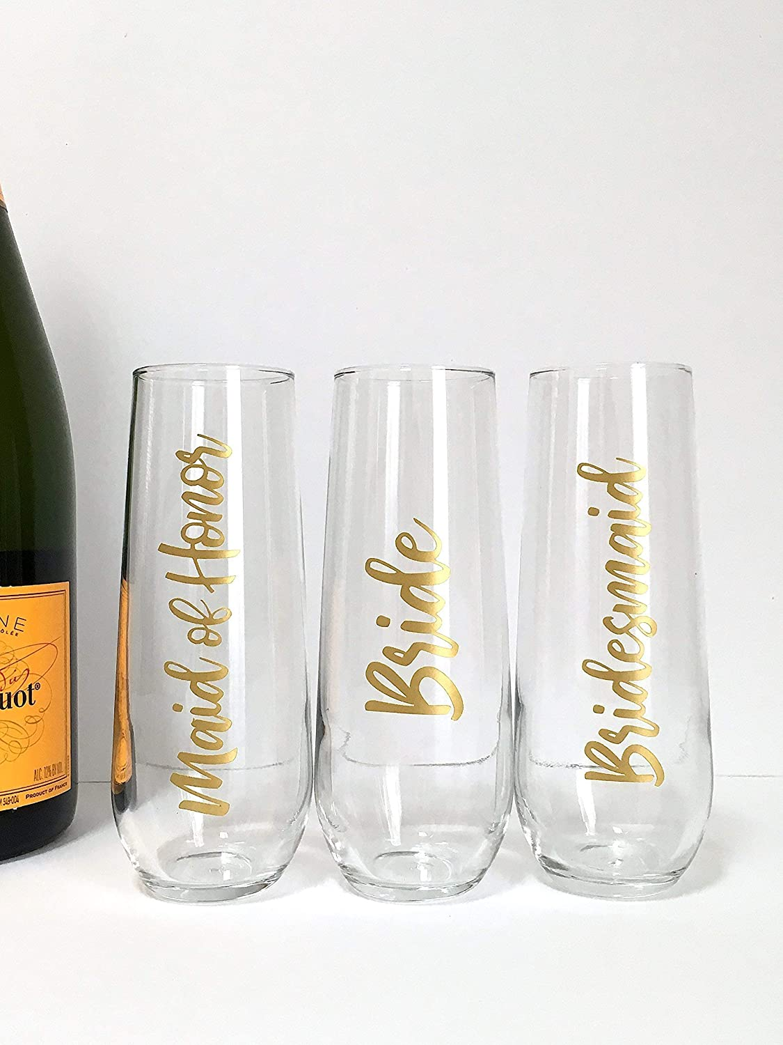 Wedding Champagne Flutes - Bridesmaid - Maid of Honor - Matron - Mother of the Bride and Groom