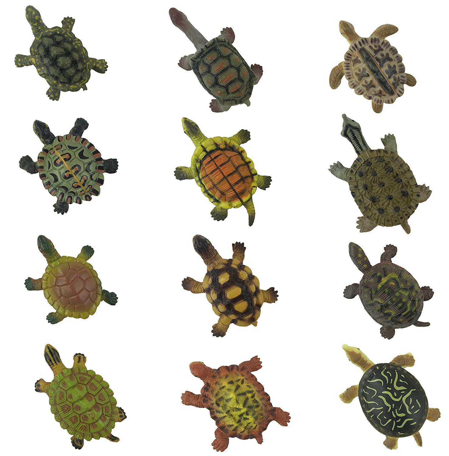 Realistic Sea Turtle Miniature Figurines - 12 Unique Turtles Detailed and Hand Painted Reptile Toys for Kids Liberty Imports
