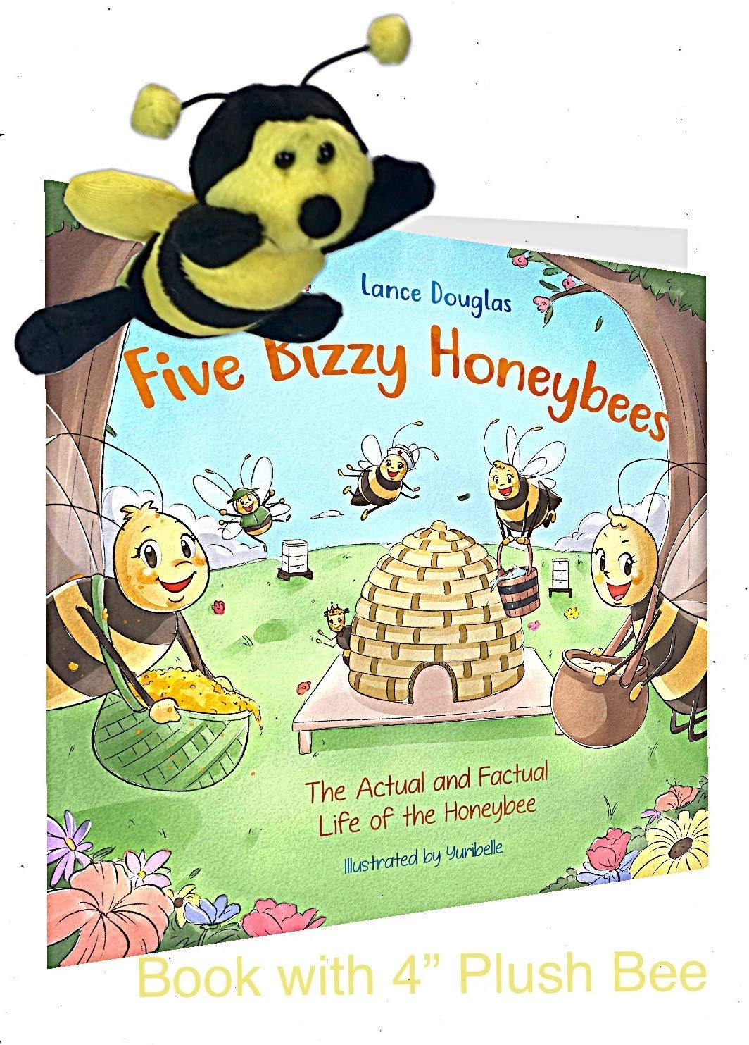 "Plush Stuffed 5"" Bee and Book About Bees and How Honey is Made - Five Bizzy Honey Bees"