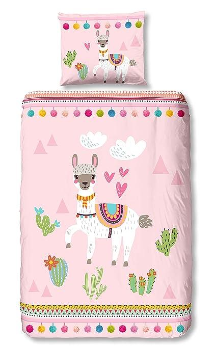 Aminata Kids Kinder Bettwäsche Set 135 X 200 Cm Lama Motiv Kaktus