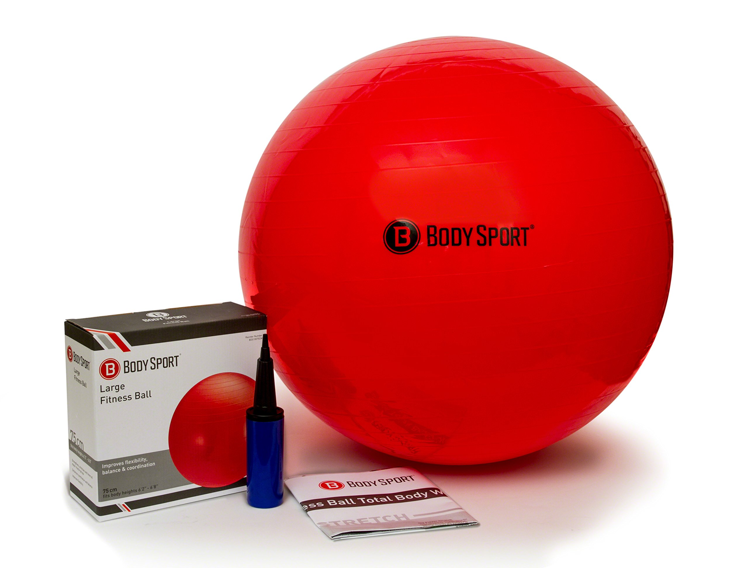 Body Sport Exercise Ball with Pump for Home, Gym, Balance, Stability, Pilates, Core Strength, Stretching, Yoga, Fitness Facilities, Desk Chairs - Red 75cm by Body Sport (Image #1)