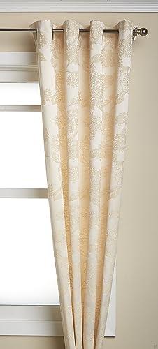 LORRAINE HOME FASHIONS Hydrangea Window Curtain Panel, 52 by 84-Inch, Ivory