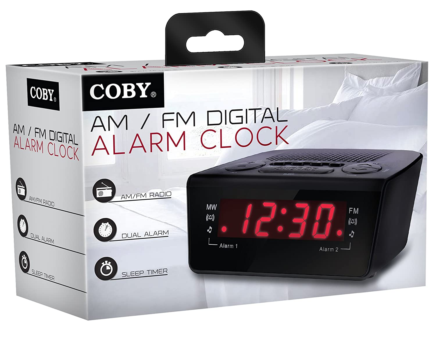 Amazon.com: Coby CBCR-103-BLK Digital Alarm Clock with AM/FM Radio and Dual Alarm (Black): Home Audio & Theater