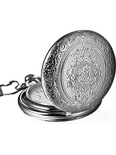 d4ec370241be Reloj de Bolsillo de Cuarzo Plateado Clásico de Números Romanos con ...