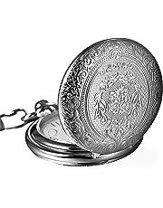 Vintage in acciaio inossidabile al quarzo Orologio da tasca catena