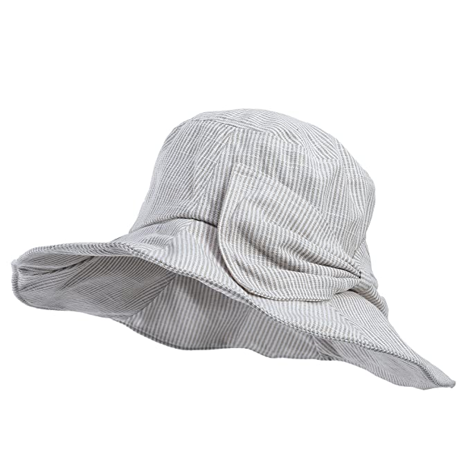 Women Summer Beach Sun Hat - Wide Brim Bucket Packable Cotton Hats for Girls  (Beige 4c28f55fd85