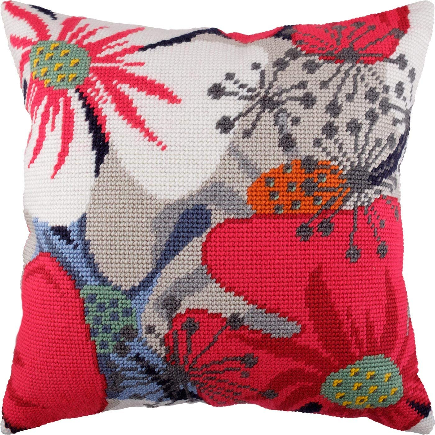 Throw Pillow Case 16/×16 Inches Floral Home Decor European Quality Flowerish Mood Flowers DIY Embroidery Needlepoint Cushion Cover Front Cross Stitch Kit Printed Tapestry Canvas