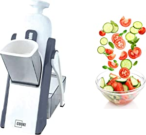 COOK! Safe Slice Mandoline Slicer and Vegetable Chopper with 30 Adjustable Settings and Catch Tray – Veggie Cutter French Fry Maker Chops, Slices, Dices and Juliennes for Quick, Easy Meal Prep, Gray