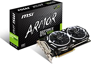 MSI GAMING GeForce GTX 1060 6GB GDRR5 192-bit HDCP Support DirectX 12 Dual Fan VR Ready OC Graphics Card (GTX 1060 ARMOR 6G OCV1) (Renewed)