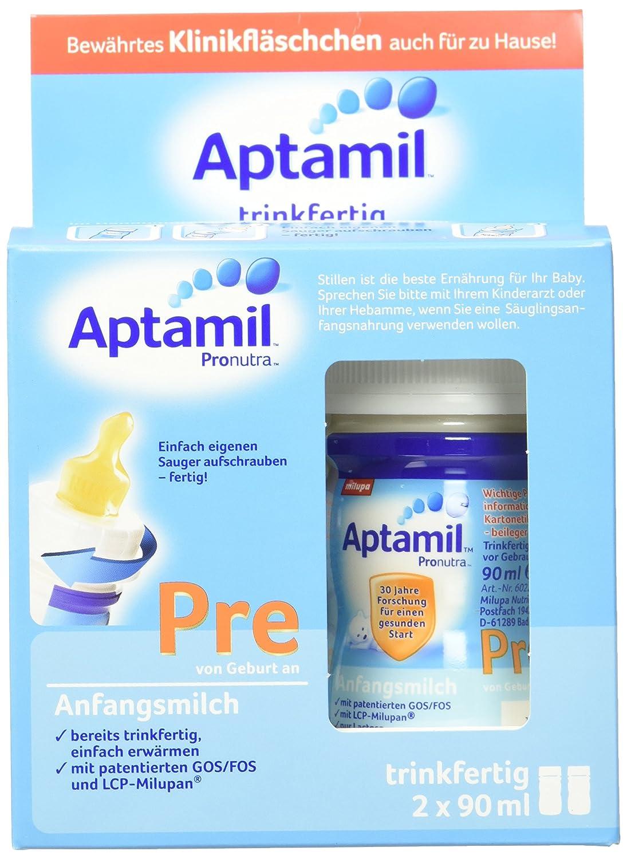 Aptamil Pre Anfangsmilch, trinkfertig, 6er Pack (6 x 180 ml) 602259 Flüssigmilch Pre-Milch Wiederverschließbar