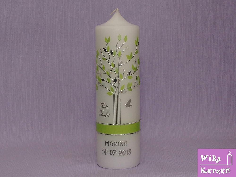 Taufkerze Kerze zur Taufe Lebensbaum gold mit Sternen Taufkerzen Junge Mädchen
