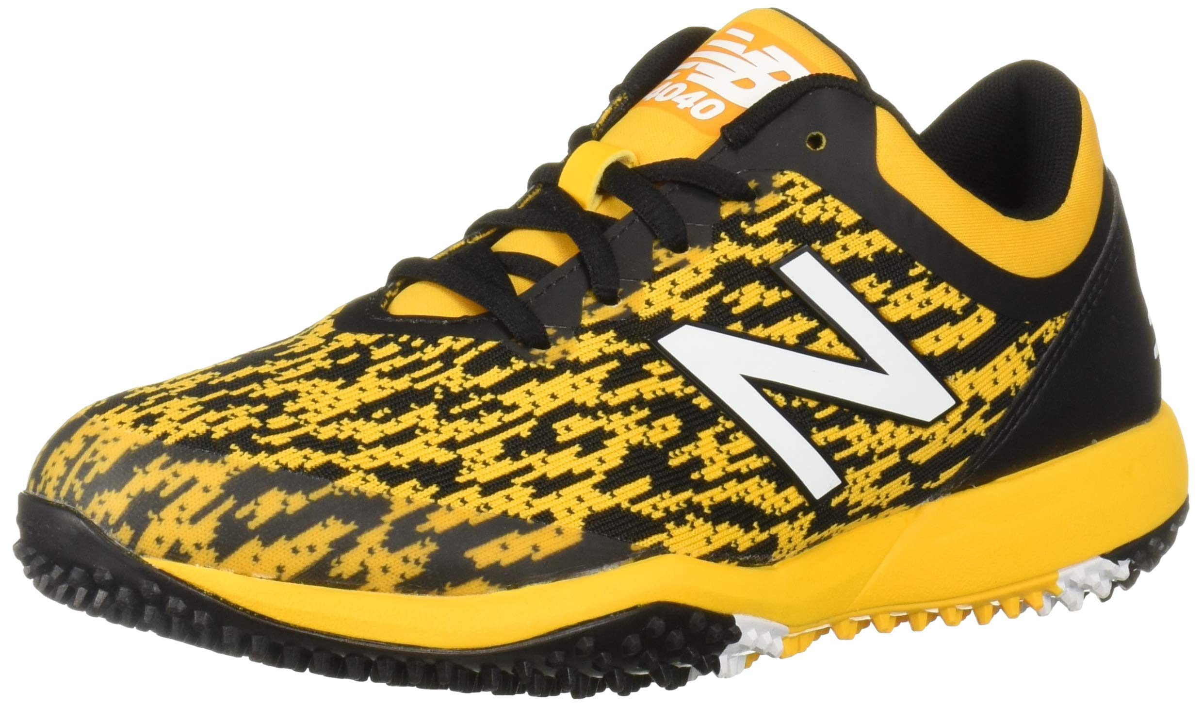 New Balance Men's 4040v5 Turf Track and Field Shoe, Black/Yellow, 5 D US