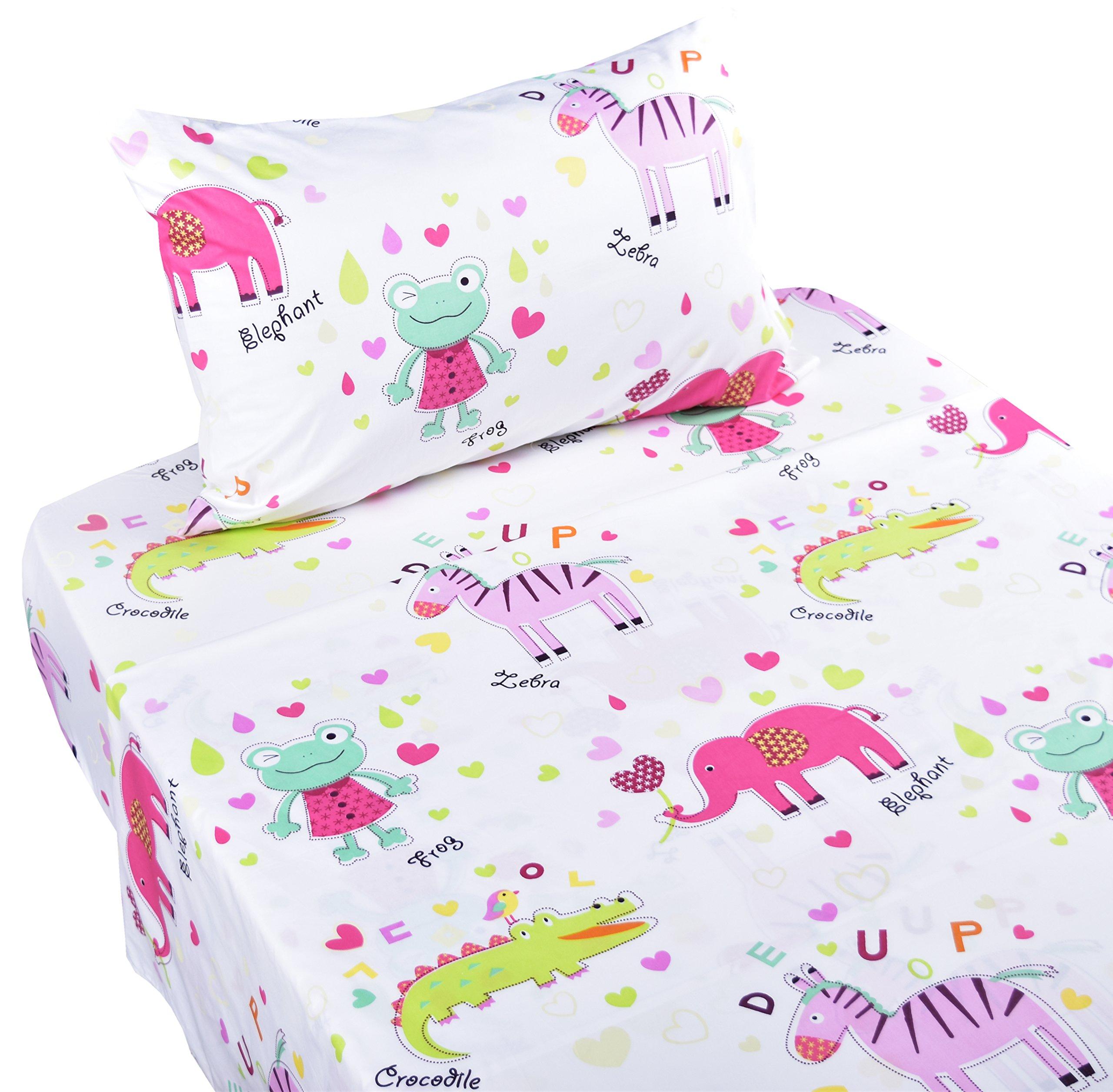 J-pinno Animals Frog Zebra Crocodile Elephant Twin Sheet Set for Kids Girl Children,100% Cotton, Flat Sheet + Fitted Sheet + Pillowcase Bedding Set