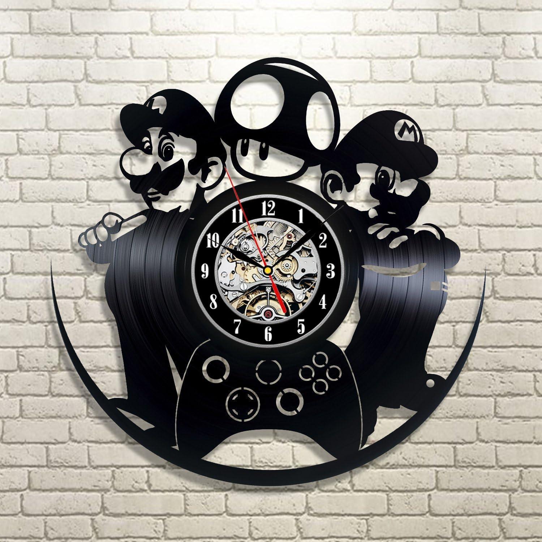 Mario Luigi Game Vinyl Record Clock Wall Art Home Decor
