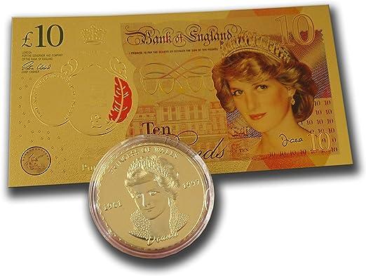 AtlantisForYou - Juego de Monedas de Aniversario conmemorativas de Princesa de Gales chapadas en Oro, Calidad de Billetes, 10 Libras, réplica de Billetes Falsos: Amazon.es: Hogar