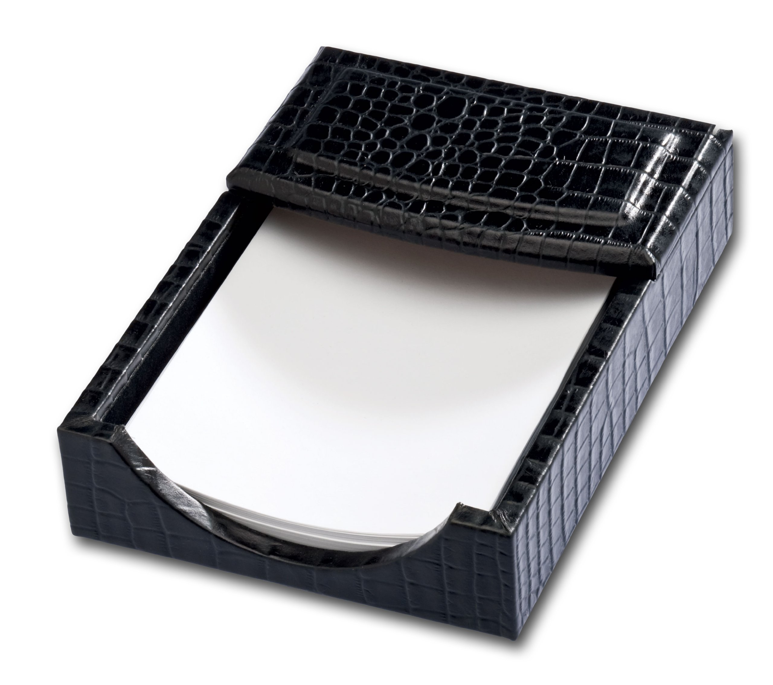 Dacasso Black Crocodile Embossed Leather Memo Holder, 4-Inch by 6-Inch by Dacasso