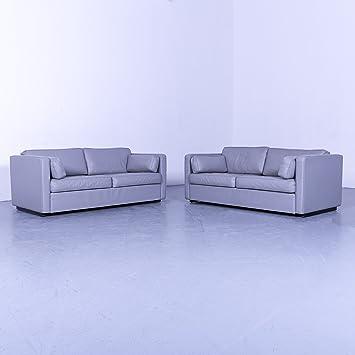 Walter Knoll Designer Leder Sofa Garnitur Grau Zweisitzer Couch