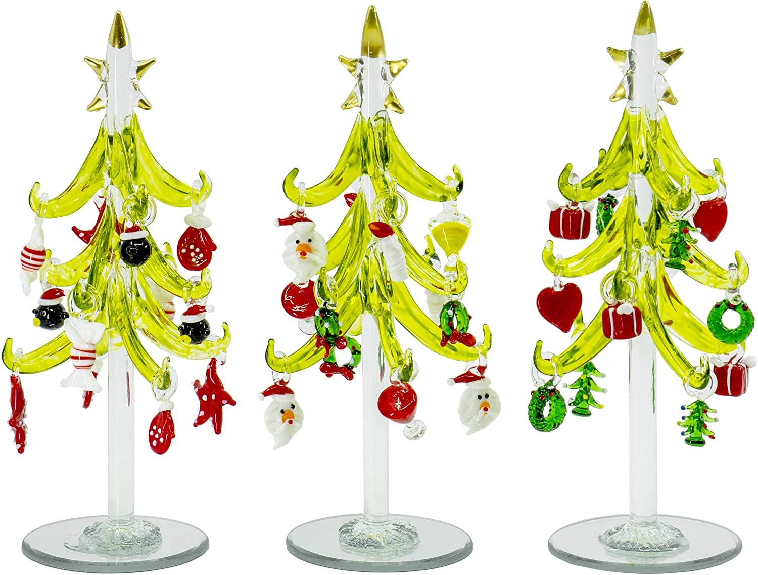 Red Co. Glass Christmas Tree Tabletop Display Decoration with Assorted Glass Ornaments, Holiday Season Decor, 8 Inches, Set of 3