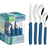 Tramontina 23499024 24 Pieces Carmel Tableware Set, Blue, Stainless Steel