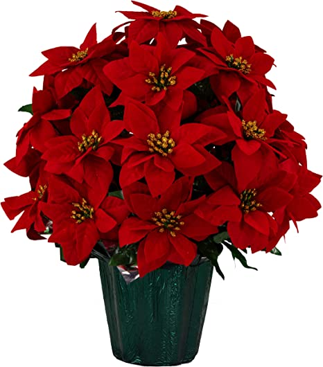 Amazon Com Sympathy Silks 18 Artificial Red Poinsettia Flower Bouquet 5 Lbs Weighted Pot 18 Tall And 16 Wide Perfect Size For Christmas Decor Home Office Or Memorial Home Kitchen