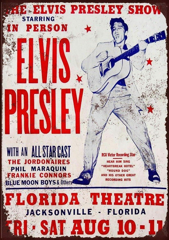 Elvis Presley Concert Florida Theatre Panneaux muraux en /étain Vintage Peinture sur Fer Art r/étro Avertissement Plaque de m/étal d/écor pour Road Home Store Caf/é Bar