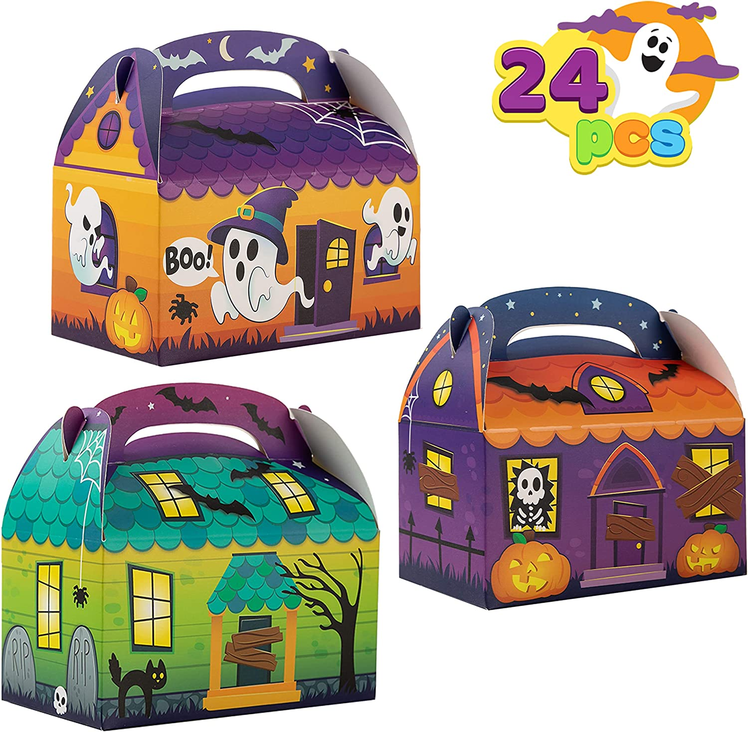 24pk Halloween Haunted House Spooky Treat Boxes Classroom Party Favors Candy Box