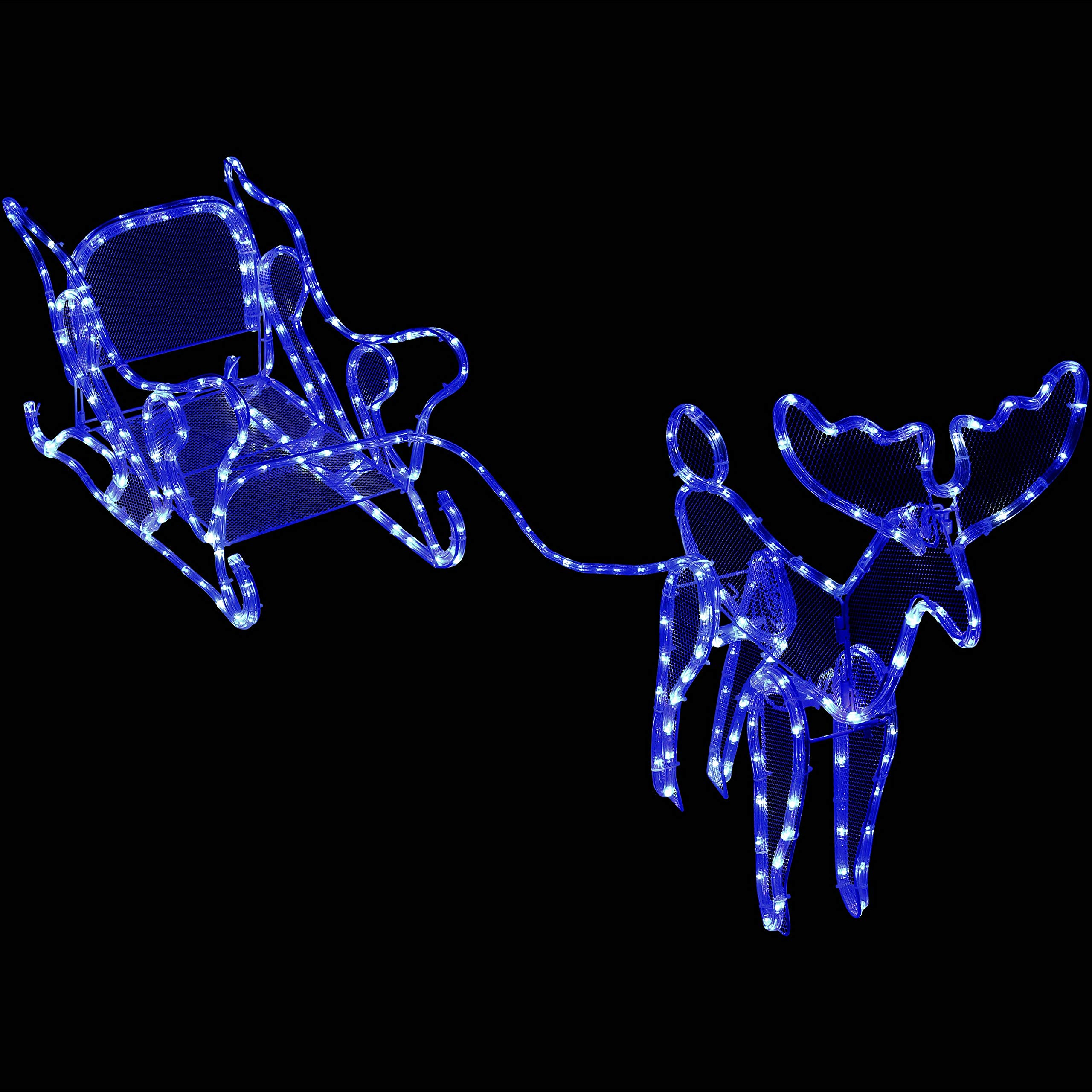 Sunnydaze Decor Christmas Sleigh with Reindeer Light Display, Outdoor Holiday Decoration with Blue and White LED Lights, 58-Inch Long x 23-Inch Height