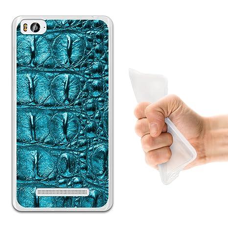 WoowCase Funda Xiaomi Mi 4c, [Xiaomi Mi 4c ] Funda Silicona Gel Flexible Animal Skin Piel Cocodrilo Turquesa, Carcasa Case TPU Silicona - Transparente