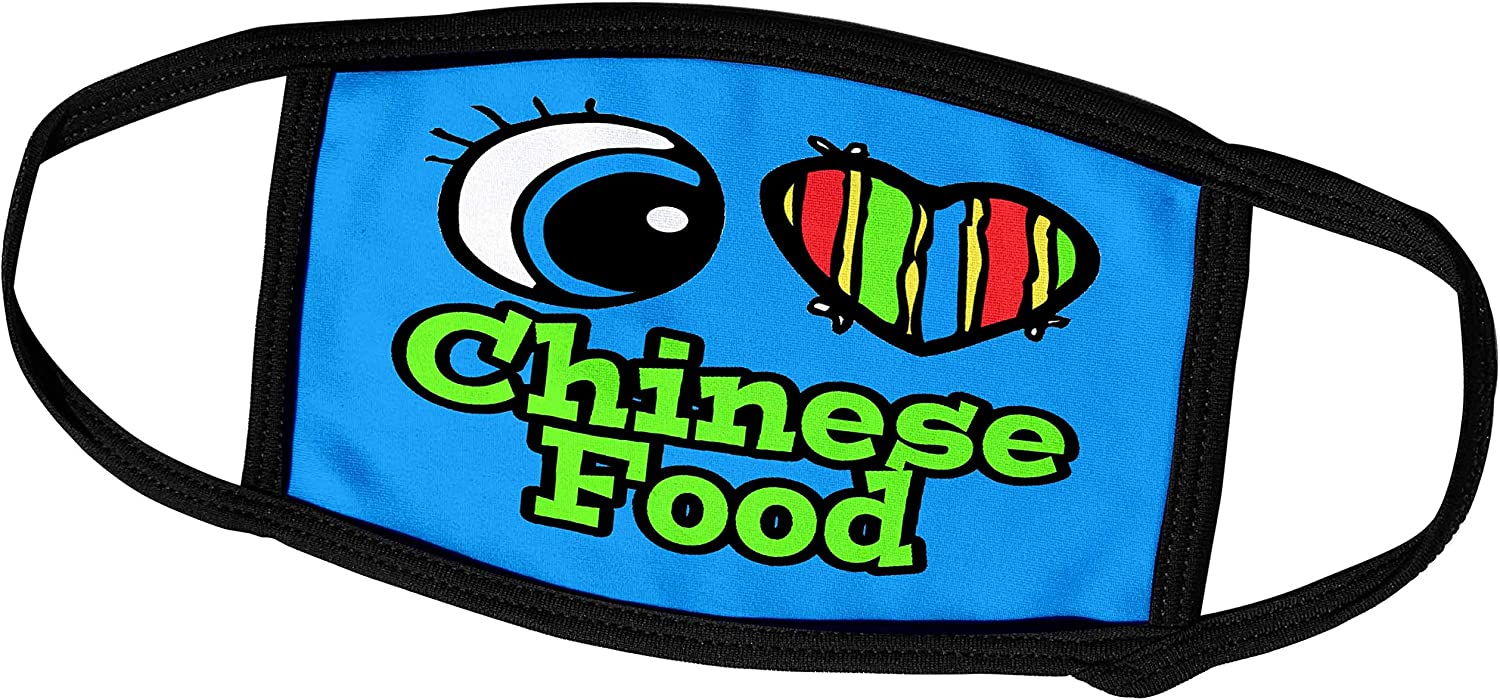 3dRose Bright Eye Heart I Love Chinese Food - Face Covers (fc_105961_3)