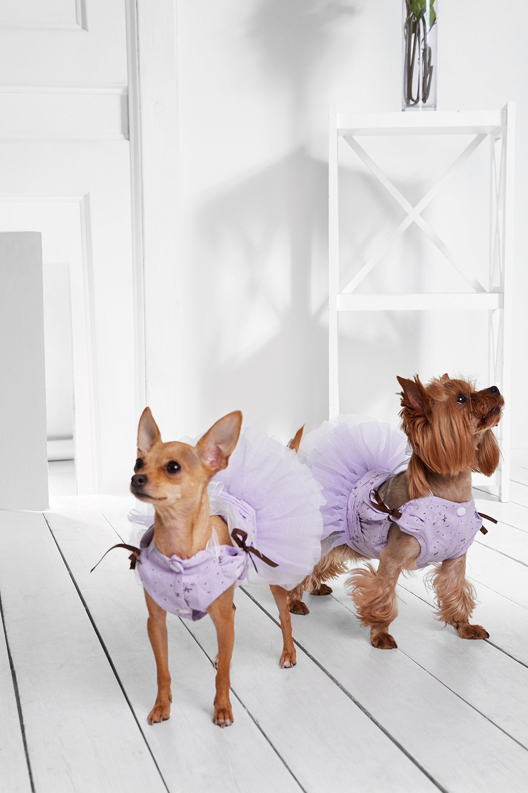 """Small Dog Tutu Dress With Snaps 4 Layers Skirt Pet Princess Puppy Party Outfit (Toy Plus: 10"""" / 5-9 lbs, Purple)"""