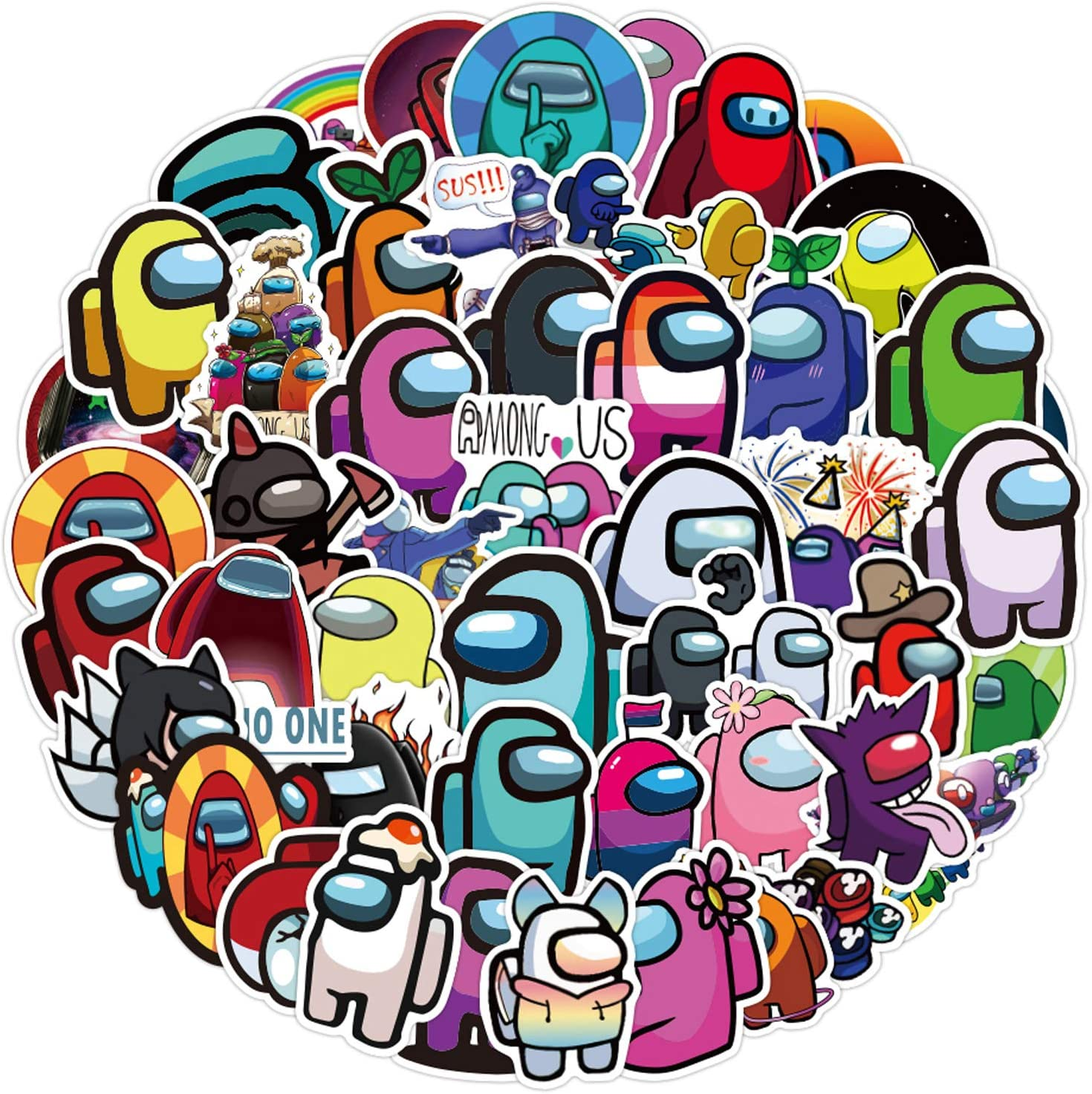 AdnesUSA Among Us Carton Game Sticker 50 Pcs,DIY Decoration as Gift Waterproof Merch Cute Vinyl Sticker Special Character Decal for Laptop,Skateboard,Water Bottle,Laptop…