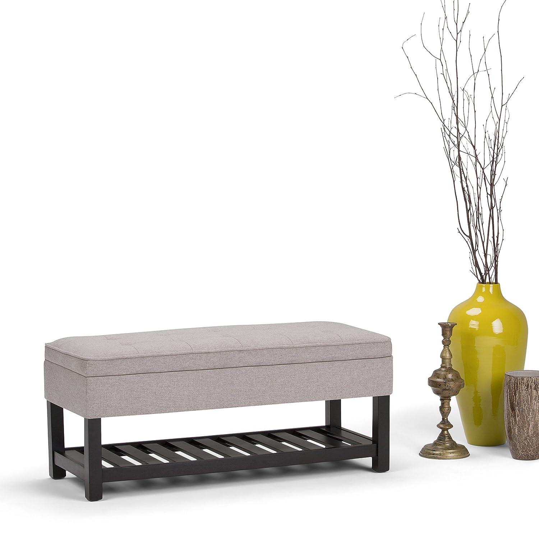 Simpli Home AXCCOS-OTTBNCH-01-CLG Cosmopolitan 44 inch Wide Traditional Ottoman Bench in Cloud Grey Linen Look Fabric