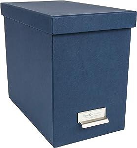 Bigso John Desktop File Thin Label Frame Storage Box, Blue