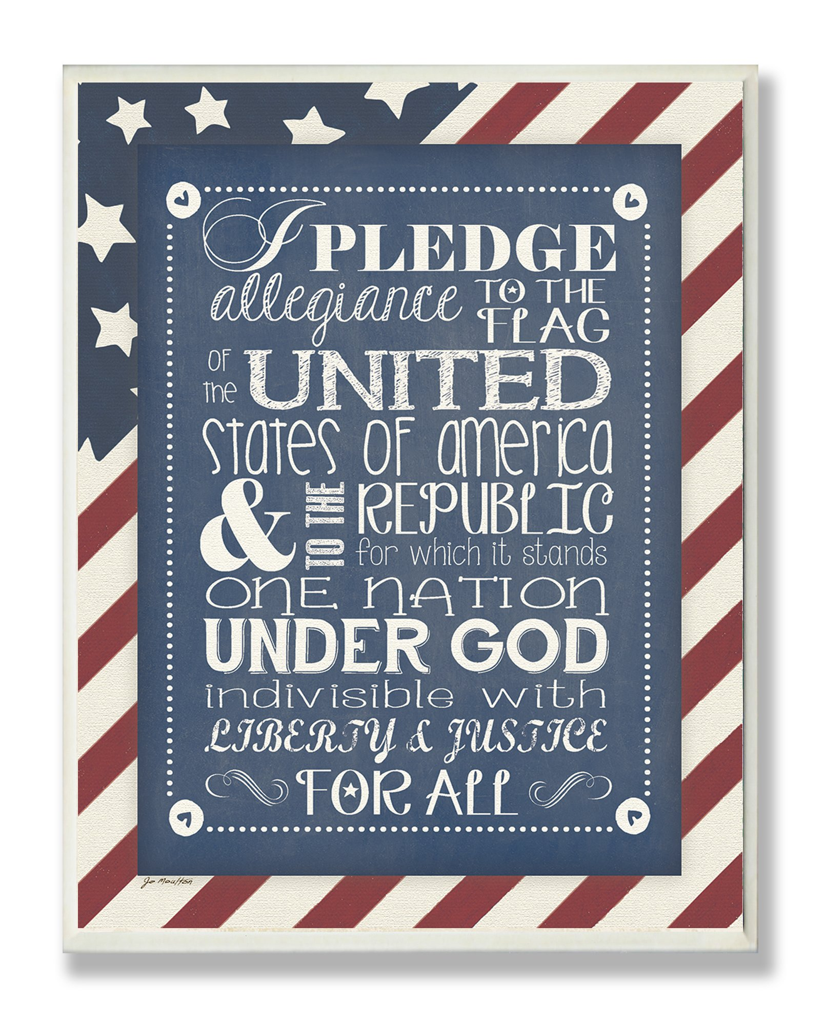 The Kids Room by Stupell Pledge of Allegiance with American Flag Background Rectangle Wall Plaque, 11 x 0.5 x 15, Proudly Made in USA by The Kids Room by Stupell