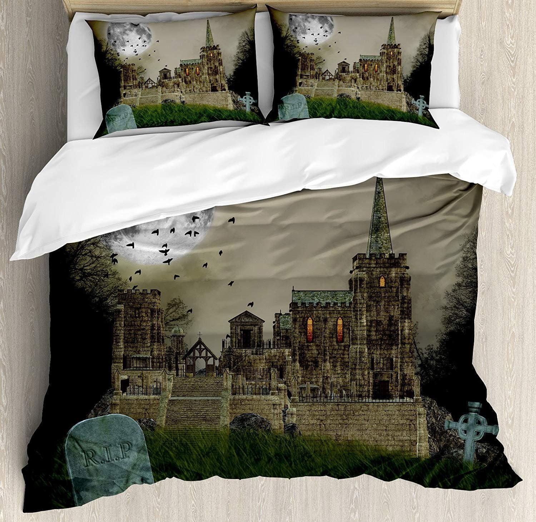 Conjuntos de ropa de cama de edredón gótico, Old Village y Graves con castillo medieval y arte de terror de luna llena de pájaros, juego de funda nórdica de 3 piezas para niños / niños / adolescentes