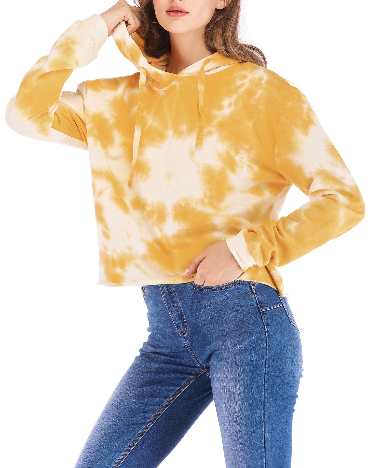 Eanklosco Womens Casual Long Sleeve Tie Dye Hoody (Yellow, M)
