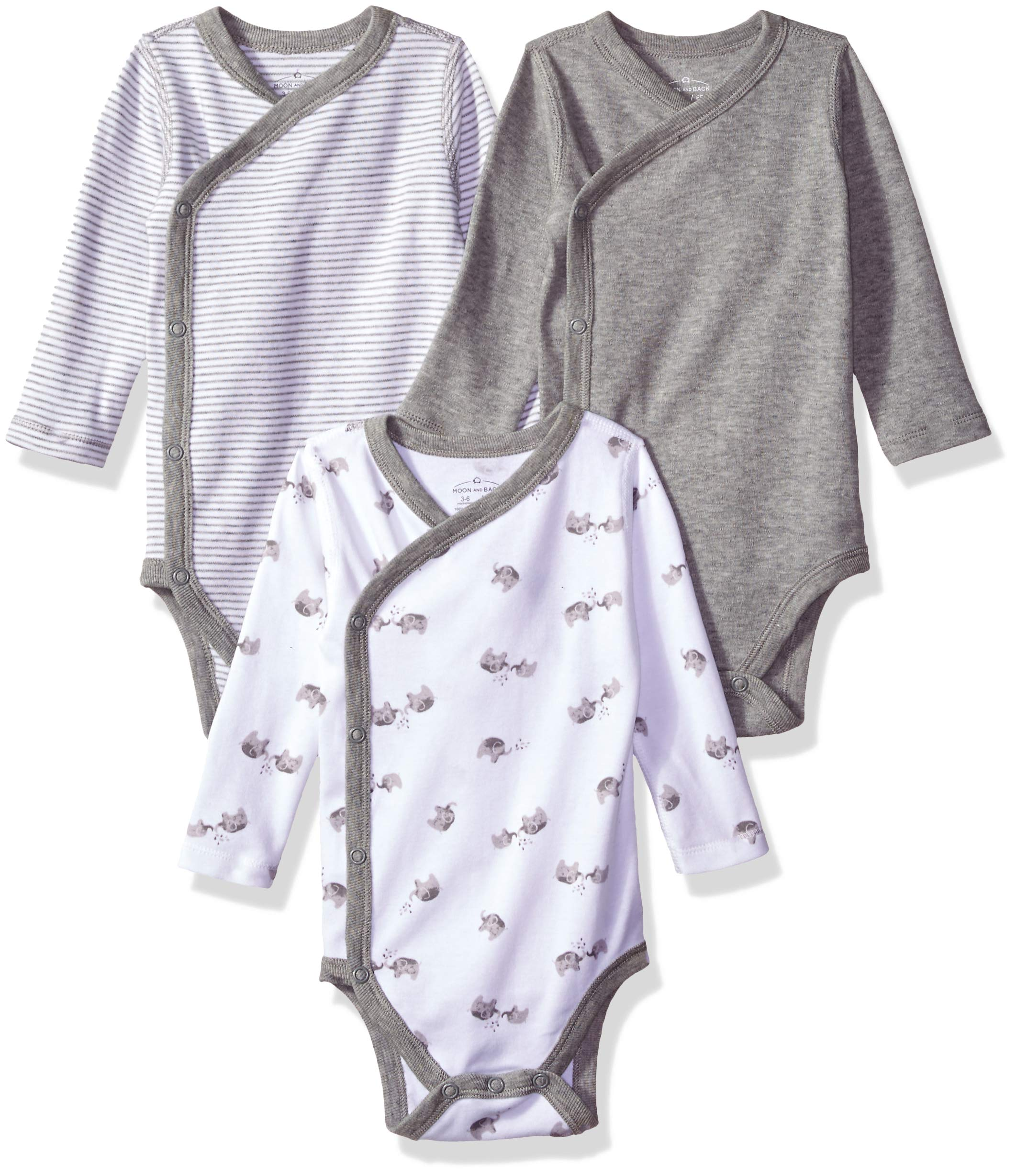 Moon and Back Baby Organic 3-Piece Long Sleeve Side Snap Bodysuits, Grey Heather, 0-3 Months by Moon and Back