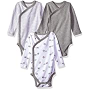 Moon and Back Baby Organic 3-Piece Long Sleeve Side Snap Bodysuits, Grey Heather, 0-3 Months