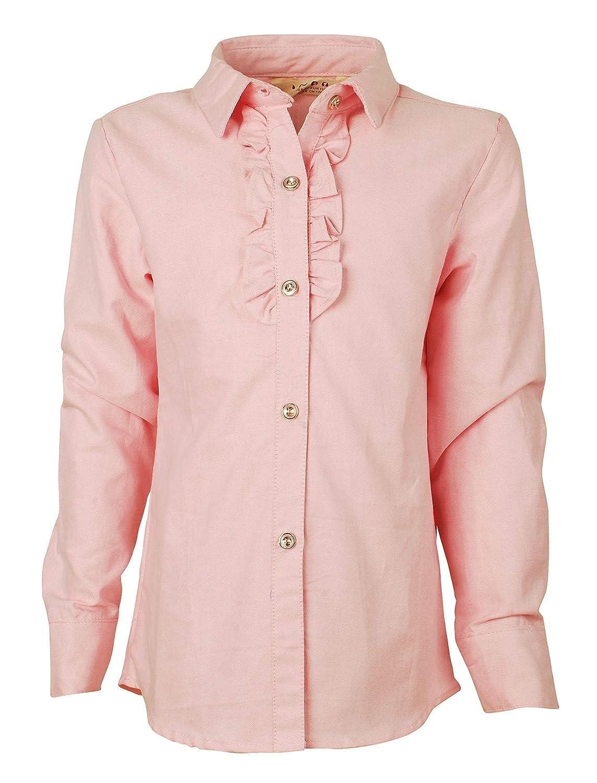 Ipuang Girl's Casual Ruffle Long Sleeve Oxford School Uniforms Blouse Shirt Top
