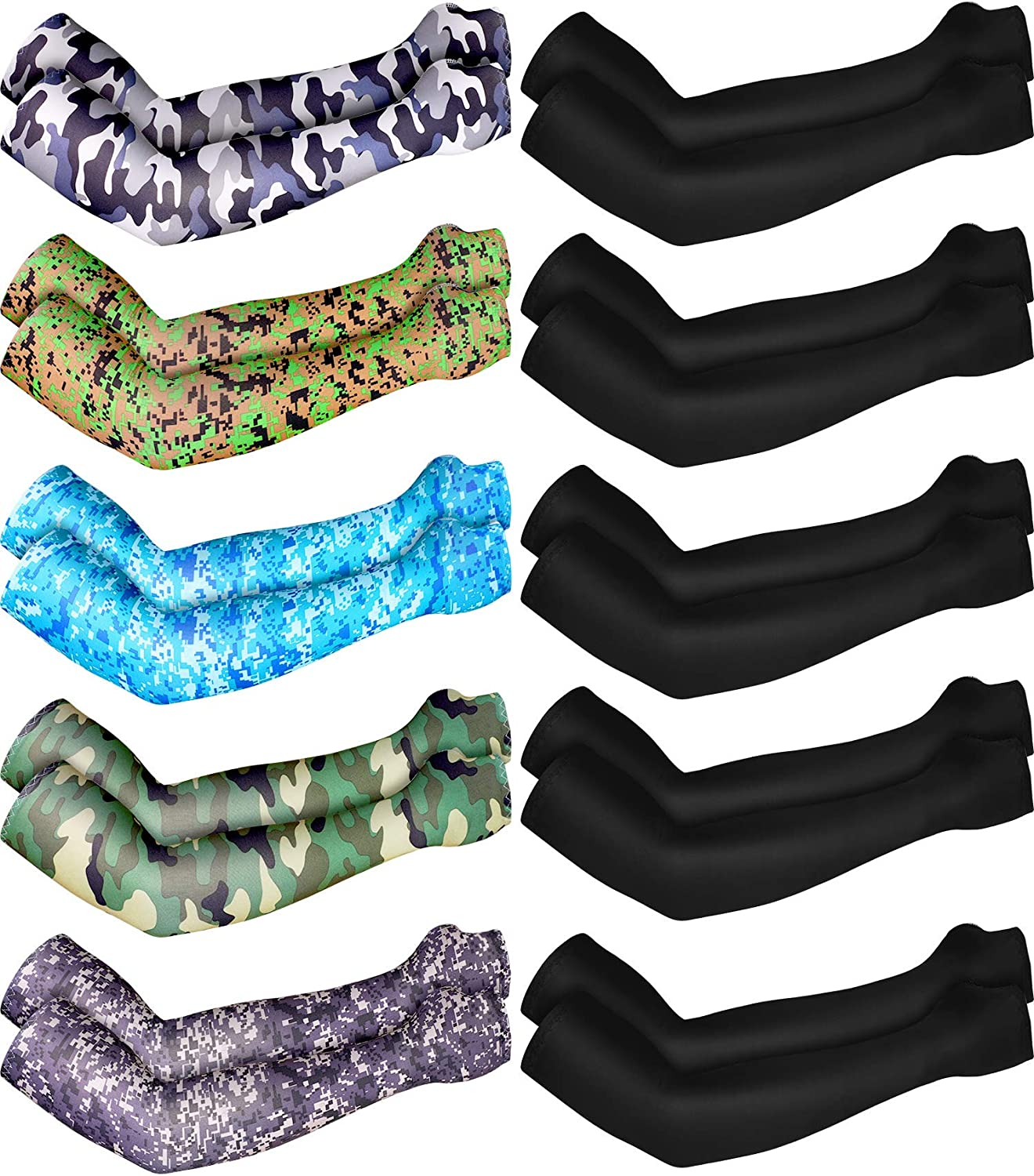 Boao 10 Pairs UV Protection Cooling Arm Sleeves Anti-Slip Ice Silk Arm Cover for Men (6 Colors)